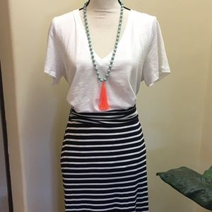 J. Crew Convertible Maxi Skirt, Navy/White, Large
